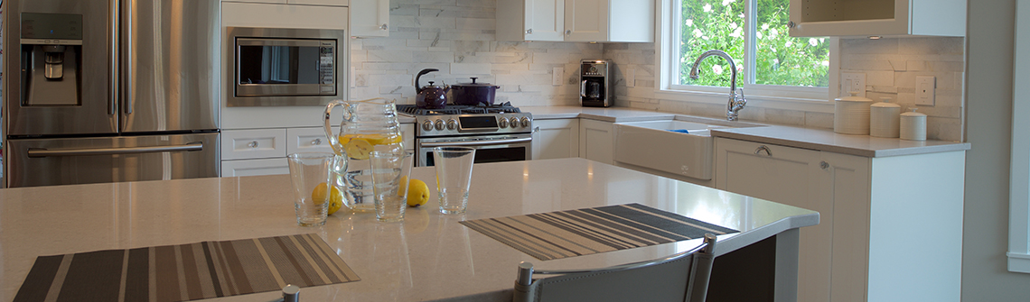 Renovated Kitchen and Living Space Project, Langley BC: Island with Bar Chairs