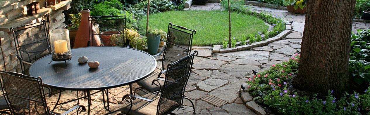 Patio Table with Paving Stone Walkway